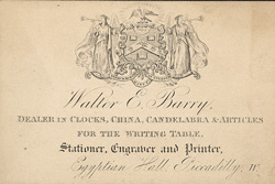 Tradecard for Walter E Barry, stationer, engraver & printer